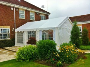 Party tent in a residential garden